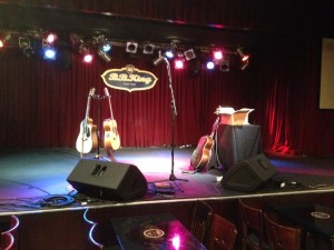 Setting up at B B King's Blues Club in NYC