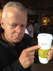 "Tommy stopped at Starbucks for some morning Joe. This is how they spell ""Tommy"""