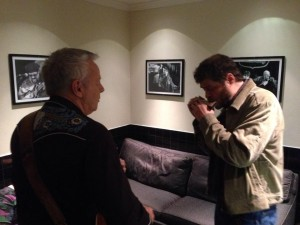 Tommy E with famed harmonica player William Galison