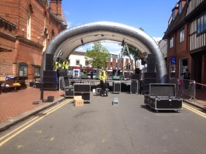 Setting up the Stage for the street concert in Wokingham